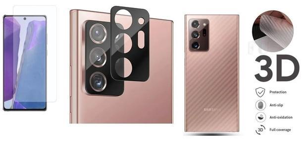 Imagem de Película Verso Fibra Carbono + P. Câmera Lente + P. Nano Gel Para Samsung Galaxy Note 20 Ultra 6.9