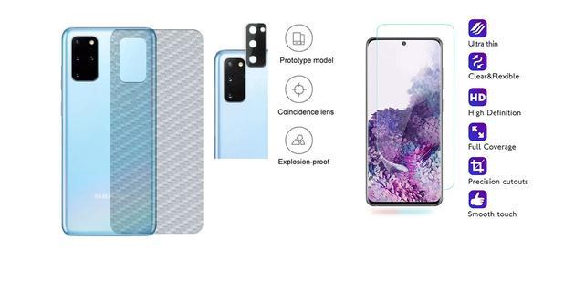 Imagem de Película Verso Fibra Carbono + Película Câmera Lente + P/ Nano Gel Frontal Samsung Galaxy S20 Tela 6.2