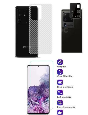 Imagem de Película Verso Fibra Carbono + Película Câmera Lente + P/ Nano Gel Frontal Samsung Galaxy S20 Ultra