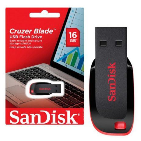 Imagem de Pen Drive 16GB USB 2.0 Sandisk Cruzer Blade SDCZ50-016G-B35 Preto e Vermelho