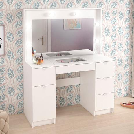 Imagem de Penteadeira Camarim 5 Gavetas 1 Porta Com Espelho Branco