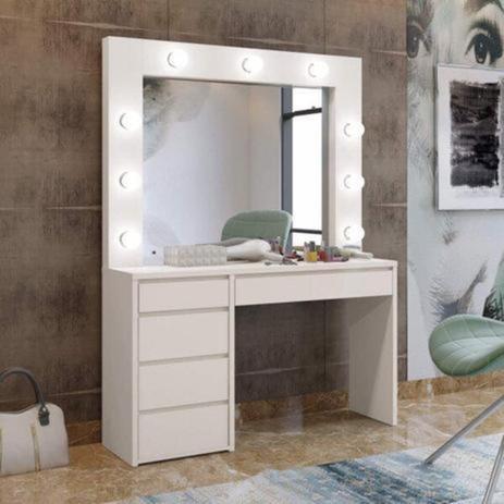 Imagem de Penteadeira Camarim com Espelho 5 Gavetas Berlim Plus Mavaular - Off White - Mavaular
