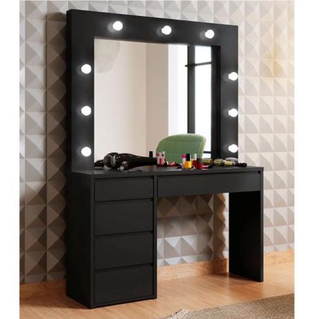 Imagem de Penteadeira Camarim com Espelho 5 Gavetas Berlim Plus Mavaular - Preto - Mavaular