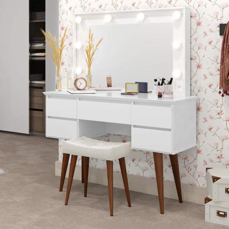 Imagem de Penteadeira Camarim com Espelho 5 Gavetas Strass Patrimar Móveis Branco