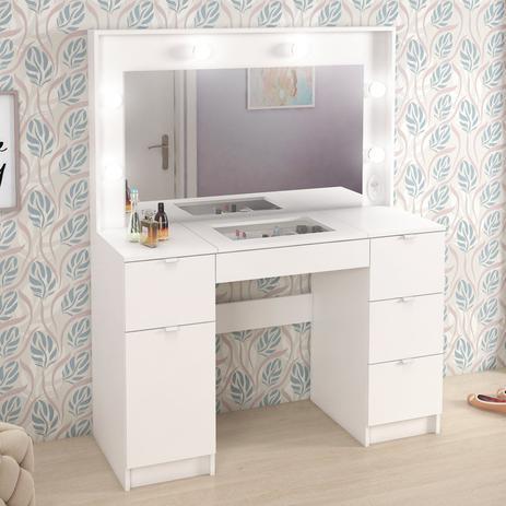 Imagem de Penteadeira Camarim com Espelho e Porta Objetos Bianca Fellicci Branco