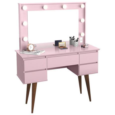 Imagem de Penteadeira Com Espelho 5 Gavetas Pés Palito Camarim Strass Rosa - Patrimar Móveis