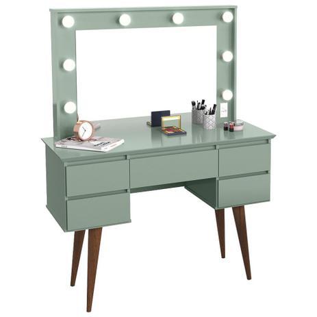 Imagem de Penteadeira Com Espelho 5 Gavetas Pés Palito Camarim Strass Verde Bellagio - Patrimar Móveis