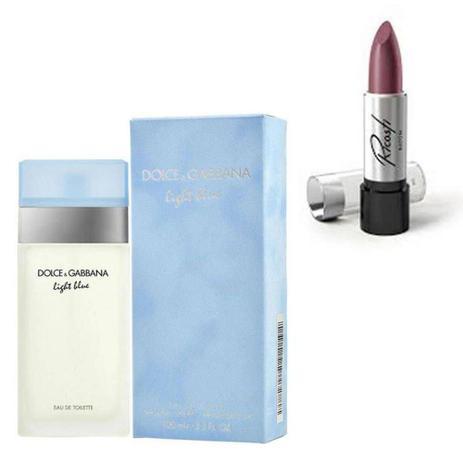 Imagem de Perfume Feminino Dolce Gabbana Light Blue 100ml com Batom Ricosti Cor Jaboticaba