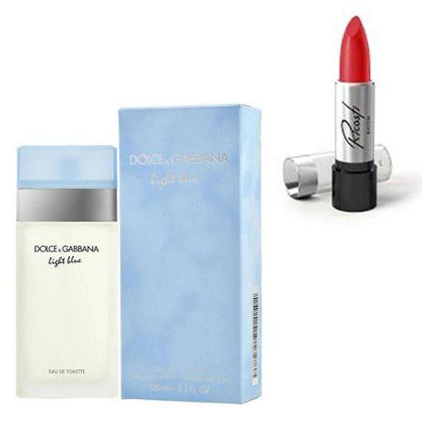 Imagem de Perfume Feminino Dolce Gabbana Light Blue 100ml com Batom Ricosti Cor Madame
