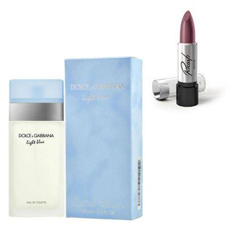 Imagem de Perfume Feminino Dolce Gabbana Light Blue 100ml com Batom Ricosti Cor Puro Nude