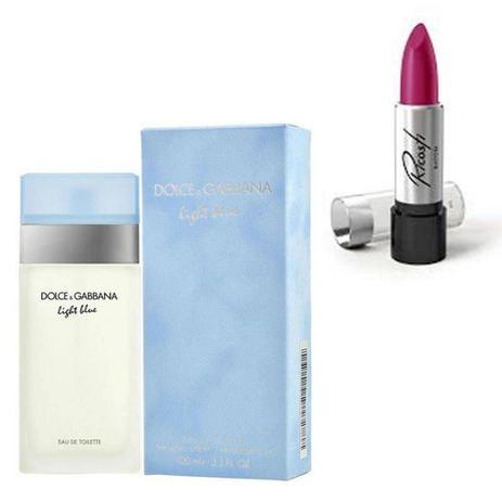 Imagem de Perfume Feminino Dolce Gabbana Light Blue 100ml com Batom Ricosti Cor Rosa Luz