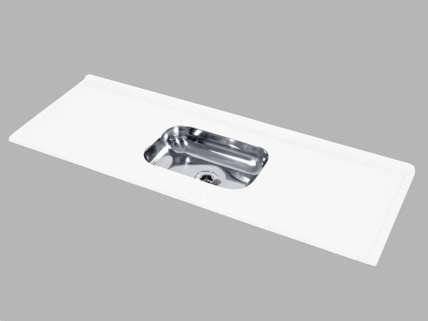 Imagem de Pia de Cozinha Decoralita Mármore Sintético com Bojo em Inox 150cm X 54cm Branco
