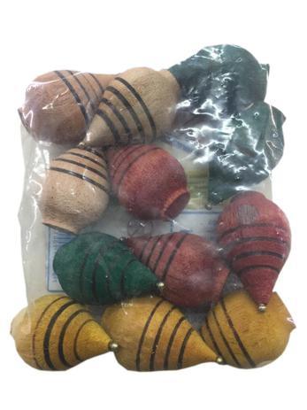Imagem de Pião De Madeira Brinquedo Tradicional Colorido - 12 Unidades
