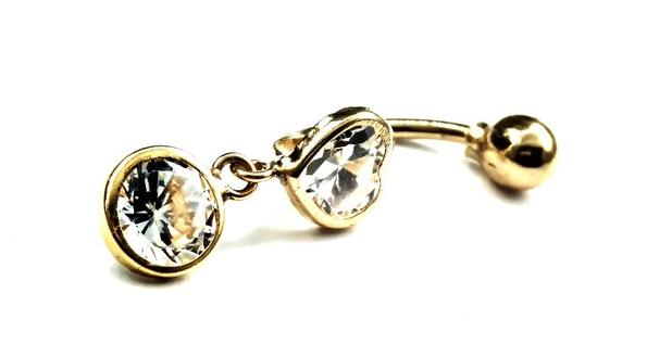 0b88febaecbf1 Piercing de ouro 18k de umbigo com coração - MidasStore - Joia e ...