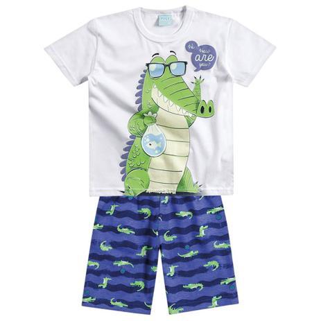 Pijama de Menino Amigo Jacaré Branco - Kyly - Pijama Infantil ... 3e7ec28a241