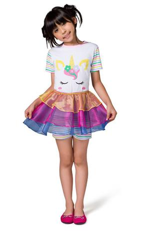 Pijama Fantasia Feminino Infantil Veggi Manga Curta Unicornio Com Saia Removivel Kids E Teen Pijama Infantil Magazine Luiza