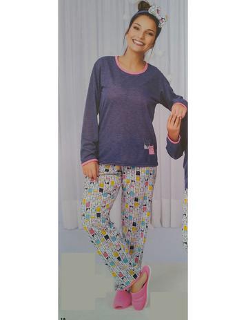 d6f84e4846bb11 Pijama Feminino Estampado Inverno Longo Frio Basic Adulto - Cia do corpo