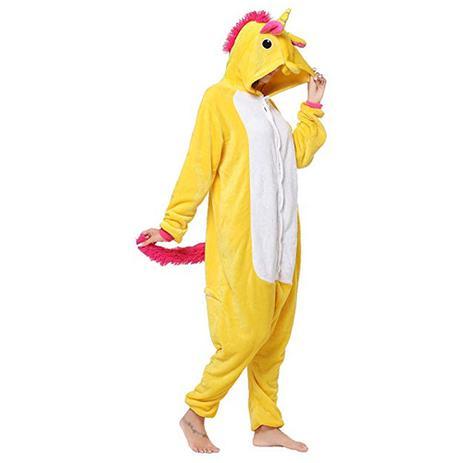 0cf6294c Pijama Kigurumi Importado de Unicórnio Amarelo com Touca - Fantasia de  unicórnio