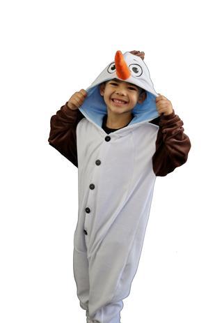 Imagem de Pijama Macacão Olaf Filme Frozen Kigurumi Boneco de Neve Fantasia Infantil