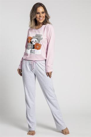 e85955deb21b57 Pijama Recco Comprido de Malha 100 - Baunilha