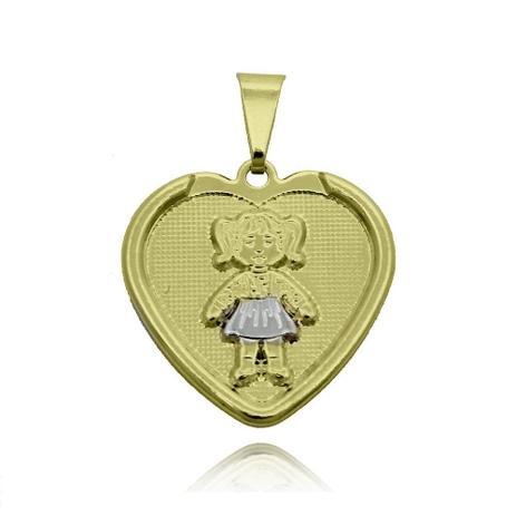 Pingente Coração com Menina Folheado Ouro + Ródio - Lunozê ... e64f3e87f4181