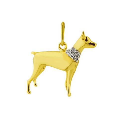 5c89dd7671e84 Pingente de Ouro 18k Animal Cachorro com Diamante pi15706 - Joiasgold