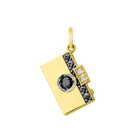 Pingente de Ouro 18k Câmera Fotográfica com Diamantes e Onix pi16951 -  Joiasgold 9ccd45d516