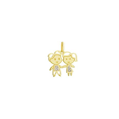 Pingente de Ouro 18k Casal Menino e Menina com Diamante pi19000 - Joiasgold 83666b0189