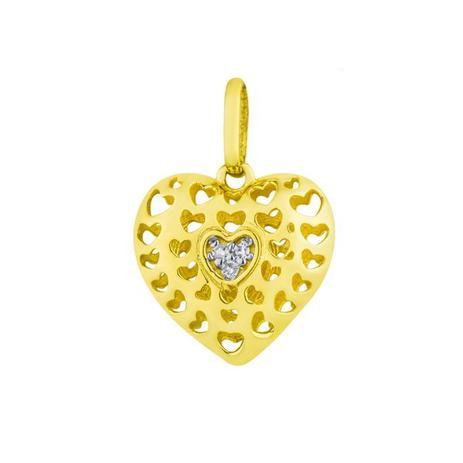 Pingente de Ouro 18k Coração com Diamantes pi17033 - Joiasgold ... d5d5b3ce1b