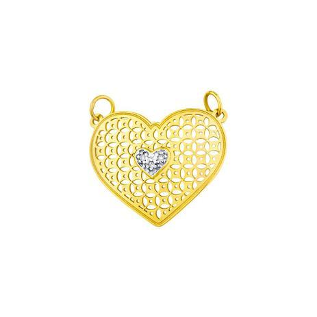 ff39d343d5f4a Pingente de Ouro 18k Coração com Diamantes pi17062 - Joiasgold ...
