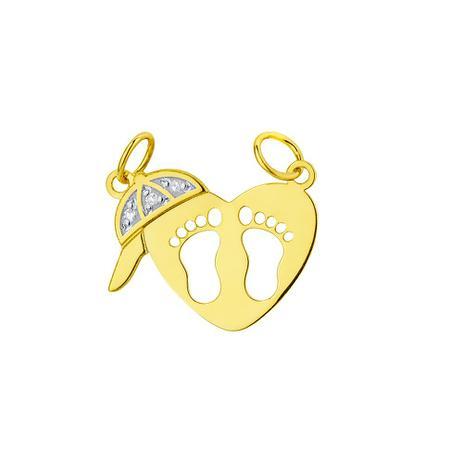 Pingente de Ouro 18k Coração com Pezinhos, Boné com Diamantes pi17649 -  Joiasgold af45e79788