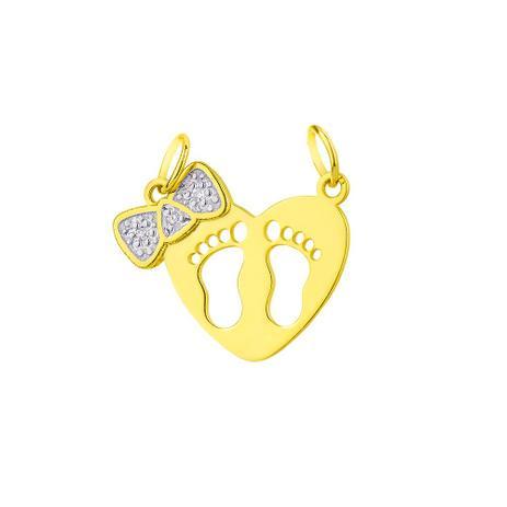Pingente de Ouro 18k Coração com Pezinhos, Laço com Diamantes pi17650 -  Joiasgold a8ff6b30fa
