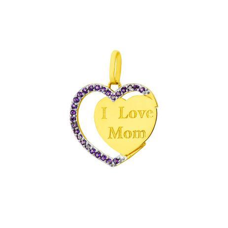 7a0e8f2f14248 Pingente de Ouro 18k Coração com Topázios Gravado I Love Mom pi17000 -  Joiasgold