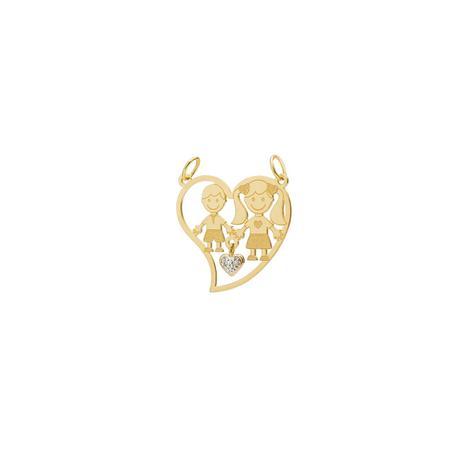 Pingente de Ouro 18k Coração Menina e Menino 2 Diamantes pi18899 - Joiasgold 3265f47d50