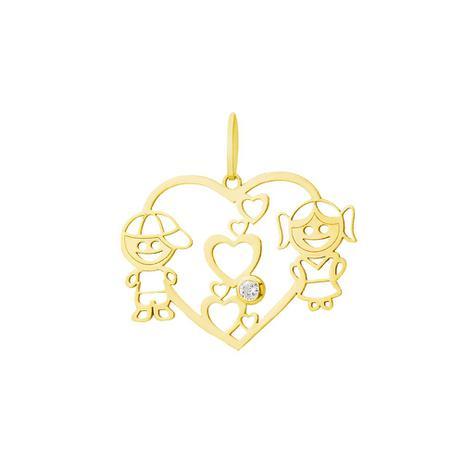 0084a5d33bc4b Pingente de Ouro 18k Coração Menino e Menina com Zircônia pi17755 -  Joiasgold