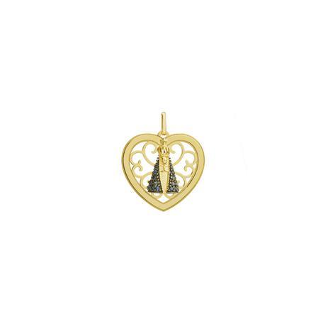 Pingente de Ouro 18k Coração N. Sra Aparecida com Safiras pi18887 -  Joiasgold 95f076b6f3