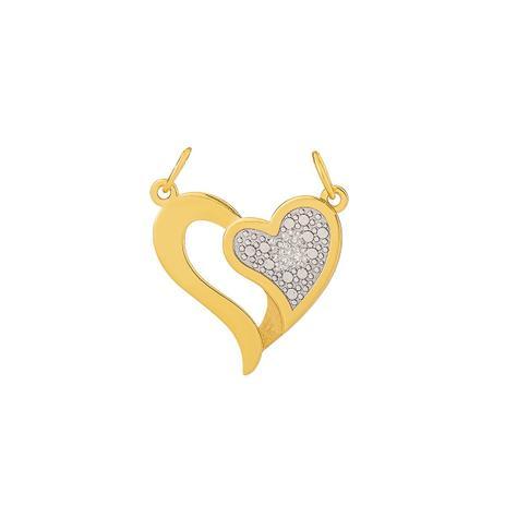 Pingente de Ouro 18k Coração Vazado com Diamantes pi18533 - Joiasgold 538cee4773