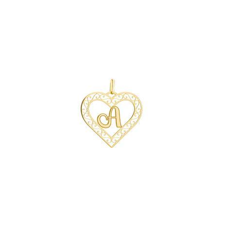 Pingente de Ouro 18k Coração Vazado com Letra A pi19164 - Joiasgold ... a411ecb85b
