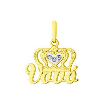 Pingente de Ouro 18k Coroa com Diamantes e Nome Vovó pi17631 - Joiasgold d4177d17aa