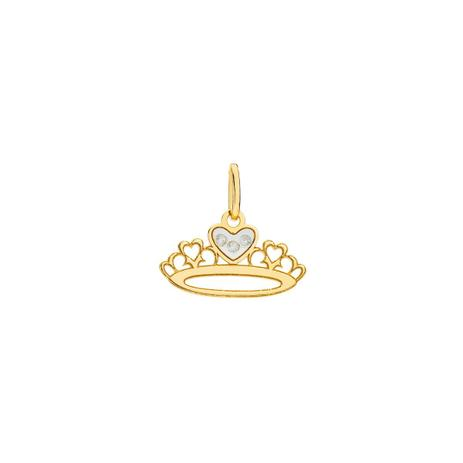 Pingente De Ouro 18k Coroa Corações Com Diamantes Pi18879 Joiasgold