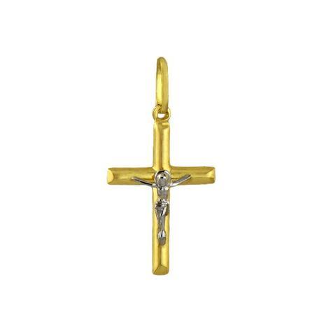 2a11298a10af0 Pingente de Ouro 18K Crucifixo com Jesus Cristo de Ouro Branco pi07747 -  Joiasgold