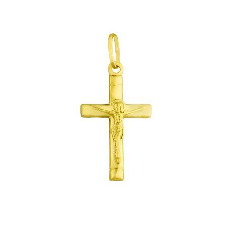 Pingente de Ouro 18k Crucifixo com Jesus Cristo pi16263 - Joiasgold ... 84cca1cdae