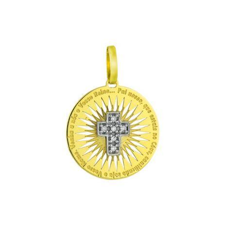 Pingente de Ouro 18k Crucifixo com Oração do Pai Nosso pi14414 - Joiasgold fc964b1542