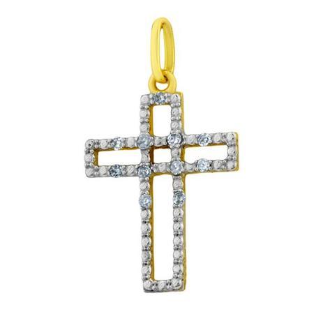 Pingente de Ouro 18k Cruz com Diamantes pi02010 - Joiasgold ... f1e7663f8a