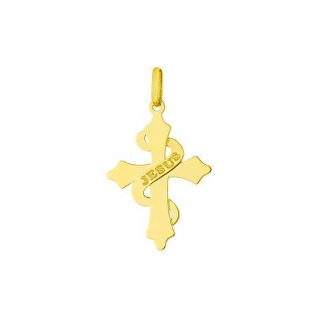Pingente de Ouro 18k Cruz com nome Jesus Gravado pi17040 - Joiasgold ... 4356c78e97