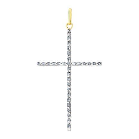 Pingente de Ouro 18k Cruz Palito Grande com Diamantes pi14405 - Joiasgold df8a8499ea