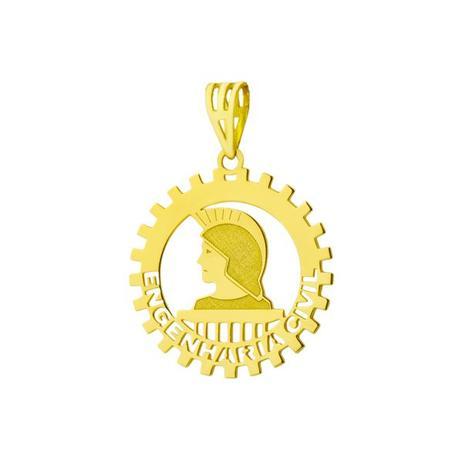 Pingente de Ouro 18k de Formatura com Símbolo de Engenharia Civil- pi1 -  Joiasgold 3923a38eeb