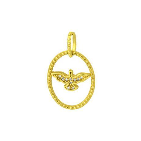 Pingente de Ouro 18k do Divino Espírito Santo com Diamantes pi15367 -  Joiasgold d0ca82e212