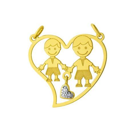 Pingente de Ouro 18k Dois Meninos Dentro do Coração pi17080 - Joiasgold 5d74511353