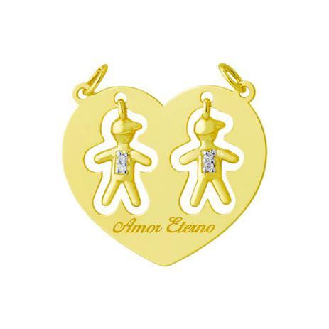 Pingente de Ouro 18k Dois Meninos Dentro do Coração pi17152 - Joiasgold b311e7e30b